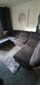 Large lift hand grey corner sofa with foot stool..