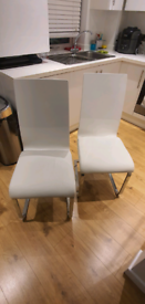 White Gloss and Faux Leather Dining Chair with chrome Legs x 2