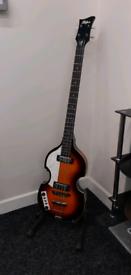 Left-handed hofner viola bass guitar