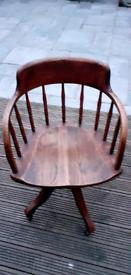 VINTAGE 1900s office chair ... Stone wheels , riser