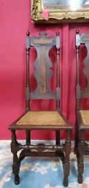 Antique Carolean Revival Chairs ca 1845 Gothic Steampunk Chic.