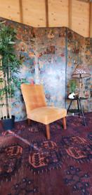 1950's mustard velvet bedroom chair