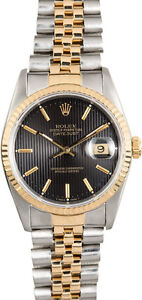 Rolex Datejust 2-Tone 18k gold/steel unique tapestry Black Dial
