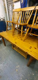 Solid pine table with drawer and 3 matching chairs & pine coffee table