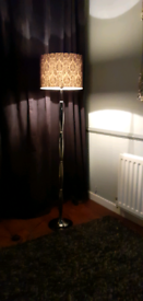 Black Floor Lamp inc Black Damask Shade