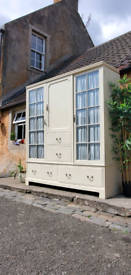 large, vintage Continental partial glazed storage/ wardrobe.