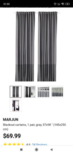Blackout curtains, 1 pair, gray, 57x98 ""