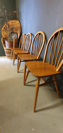 Includes delivery for London 4 x Ercol 400 Dining Kitchen Chairs retro