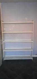 5 white metal shelves