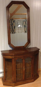 Curio Display Cabinet with Bevelled Wall Hanging Framed Mirror