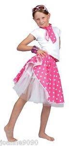 ADULT & CHILDS 50s ROCK N ROLL POLKA DOT DANCE SKIRT FANCY DRESS COSTUME GREASE