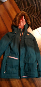 The North Face winter jacket teal and pink