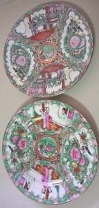 Antique Chinese Rose Medallion Famille Rose Wall Plates