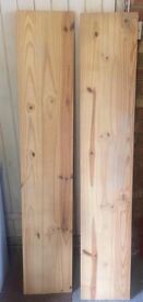 Pair of wooden shelves with brackets