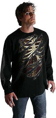 SPIRAL 666 T Shirt Skeleton Rib Biker Skull - Skull Biker Kostüme