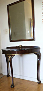 Chippindale style hall table with mirror, mahogany (delivery)