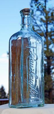 LARGE AQUA antique RAWLEIGH'S VETERINARY antique bottle w/ pic of HORSE