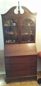 Antique secretary with glass display and 3 drawers