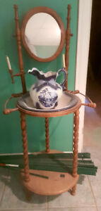 Antique washstand with basin and jug