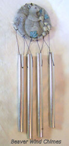 Wind Chimes, squirrel plaque with 4 aluminum chimes