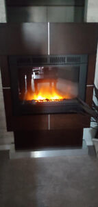 Espresso and Stainless trim Electric Fireplace