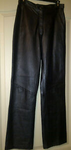 LADIES LEATHER BLACK LINED PANTS - NEW