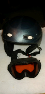 Snow ski helmet with goggles