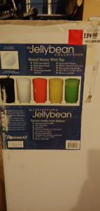 """stand alone """"jelly bean shaped"""" bathroom sink and vanity"""