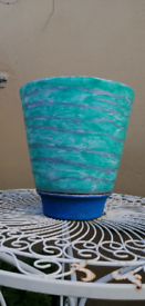 Green blue and silver outdoor pot