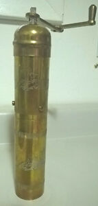 Vintage Brass Russian Pepper/Coffee Mill Grinder Engraved/Etched