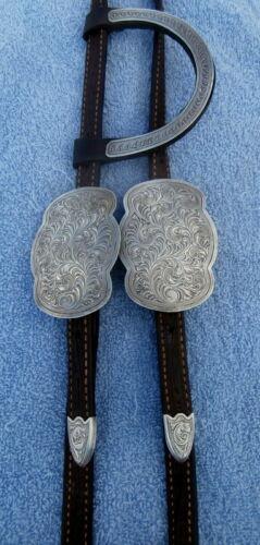 Del Varney Sterling Overlay 1 Ear Vintage Tooled Horse Show Headstall