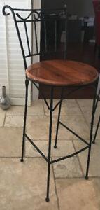 Wrought Iron and Wood Bar Stools