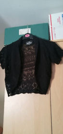 Ladies knitted Black shrug and ladies blue fleece