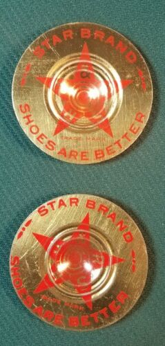 2 Antique Star Brand Shoes Advertising Spinning Tin Tops Token Red Star Promo