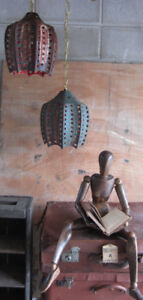 Vintage Ceramic Pendant Lamps And Antique Mannequin