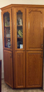 Kitchen oak cabinets, counter, sink