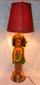 Hula Girl Lamp Made From 1950's Miss Hawaii Doll