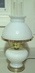 Vintage Antique White Milk Glass Hobnail Hurricane Lamp