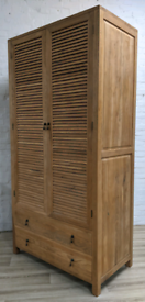 Weathered Louvred Double Wardrobe (DELIVERY AVAILABLE)