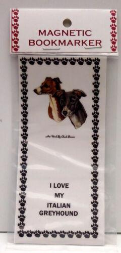 "ITALIAN GREYHOUND DOG  MAGNETIC BOOKMARKER,""I LOVE MY ITALIAN GREYHOUND"""