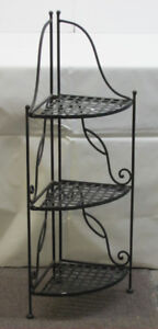 "3-Tier Folding Iron Plant Stand 37-1/2"" high"