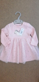 New Baby Girls Pink Unicorn Tulle Mesh Dress by Bluezoo Age: 3-6 mths
