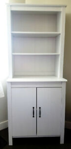 Ikea Brusali white cabinet with shelves and doors