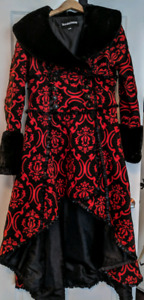 Red and black velvet Victorian trench jacket.