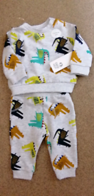 New Baby Boys 2-Piece Dinosaur Sweat Top/Joggers Set by F&F Age: 0-3 m