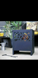 Outdoor Fire Pit Log Burner Garden Patio Heater BlackSteel H45cm W35cm