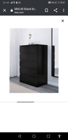 TWO SETS **Chest of drawers. Black. IKEA Malm six drawer