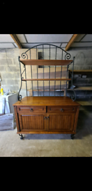 Solid wood chest of drawers with shelves