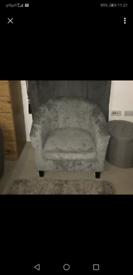 Dunelm Mill silver crush velvet chair