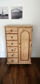 SOLID NATURAL PINE WOOD TALLBOY WARDROBE